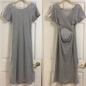Long Gray Velvet Dress Size Large